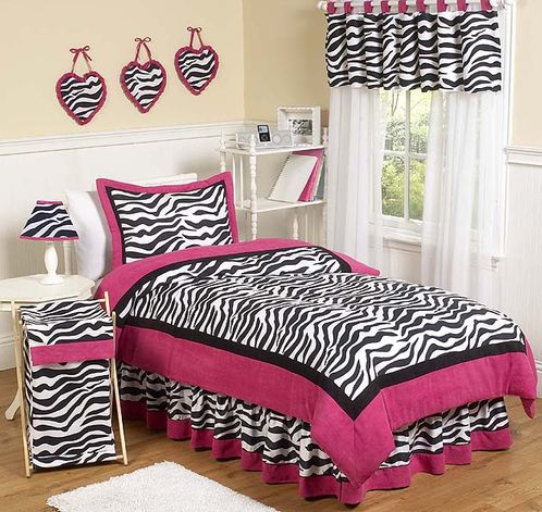 Hot Pink, Black & White Funky Zebra Teen Bedding - 3 pc Full / Queen Set - Click to enlarge