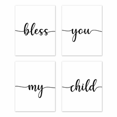 Inspirational Quote Wall Art Prints Room Decor for Baby, Nursery, and Kids by Sweet Jojo Designs - Set of 4 - Black and White Modern Contemporary Minimalist Typography Motivational Simple Bless You My Child