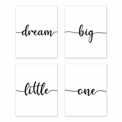 Inspirational Quote Wall Art Prints Room Decor for Baby, Nursery, and Kids by Sweet Jojo Designs - Set of 4 - Black and White Modern Contemporary Minimalist Typography Motivational Simple Dream Big Little One