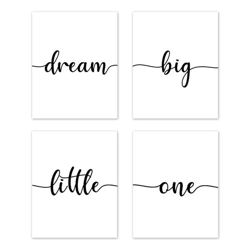 Inspirational Quote Wall Art Prints Room Decor for Baby, Nursery, and Kids by Sweet Jojo Designs - Set of 4 - Black and White Modern Contemporary Minimalist Typography Motivational Simple Dream Big Little One - Click to enlarge