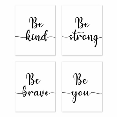 Inspirational Quote Wall Art Prints Room Decor for Baby, Nursery, and Kids by Sweet Jojo Designs - Set of 4 - Black and White Modern Contemporary Minimalist Typography Motivational Simple Kind Strong Brave You