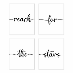 Inspirational Quote Wall Art Prints Room Decor for Baby, Nursery, and Kids by Sweet Jojo Designs - Set of 4 - Black and White Modern Contemporary Minimalist Typography Motivational Simple Reach for the Stars