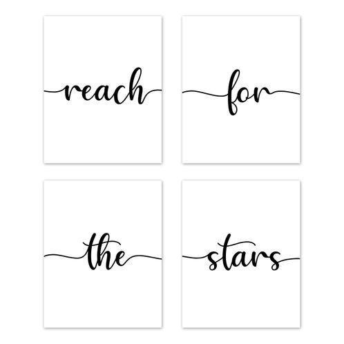 Inspirational Quote Wall Art Prints Room Decor for Baby, Nursery, and Kids by Sweet Jojo Designs - Set of 4 - Black and White Modern Contemporary Minimalist Typography Motivational Simple Reach for the Stars - Click to enlarge