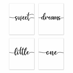 Inspirational Quote Wall Art Prints Room Decor for Baby, Nursery, and Kids by Sweet Jojo Designs - Set of 4 - Black and White Modern Contemporary Minimalist Typography Motivational Simple Sweet Dreams Little One