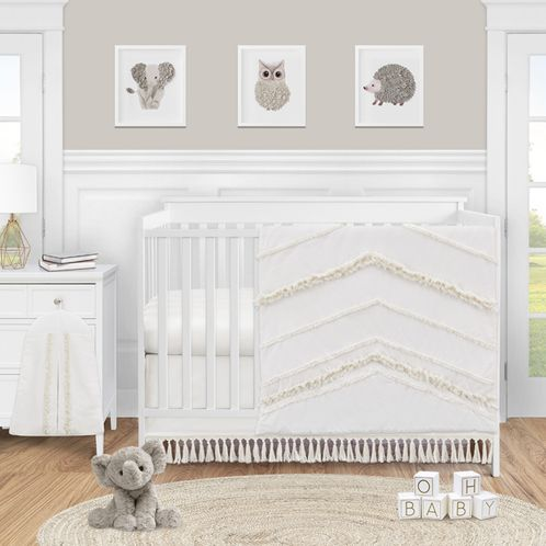Ivory Neutral Boho Bohemian Baby Girl or Boy Nursery Crib Bedding Set by Sweet Jojo Designs - 4 pieces - Solid Color Beige Cream Off White Farmhouse Chic Unisex Minimalist Tassel Fringe Macrame Cotton Gender Neutral - Click to enlarge