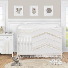 Ivory Neutral Boho Bohemian Baby Girl or Boy Nursery Crib Bedding Set by Sweet Jojo Designs - 5 pieces - Solid Color Beige Cream Off White Farmhouse Chic Unisex Minimalist Tassel Fringe Macrame Cotton Gender Neutral