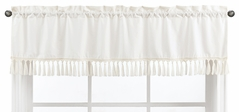 Ivory Neutral Boho Bohemian Window Treatment Valance by Sweet Jojo Designs - Solid Color Beige Cream Off White Farmhouse Chic Unisex Minimalist Tassel Fringe Macrame Cotton Gender Neutral