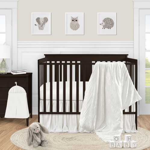 Ivory Velvet Baby Girl Nursery Crib Bedding Set by Sweet Jojo Designs - 4 pieces - Solid Color Off White Cream Crinkle Crushed Luxurious Elegant Boho Shabby Chic Vintage Luxury Princess High End Boutique Glam Designer - Click to enlarge