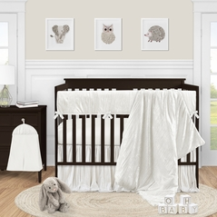 Ivory Velvet Baby Girl Nursery Crib Bedding Set by Sweet Jojo Designs - 5 pieces - Solid Color Off White Cream Crinkle Crushed Luxurious Elegant Boho Shabby Chic Vintage Luxury Princess High End Boutique Glam Designer