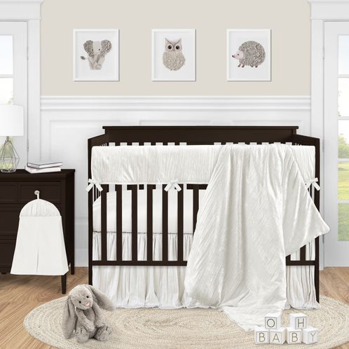 Ivory Velvet Baby Girl Nursery Crib Bedding Set by Sweet Jojo Designs - 5 pieces - Solid Color Off White Cream Crinkle Crushed Luxurious Elegant Boho Shabby Chic Vintage Luxury Princess High End Boutique Glam Designer - Click to enlarge