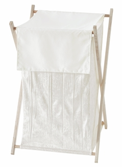 Ivory Velvet Baby Kid Clothes Laundry Hamper by Sweet Jojo Designs - Solid Color Off White Cream Crinkle Crushed Luxurious Elegant Boho Shabby Chic Vintage Luxury Princess High End Boutique Glam Designer