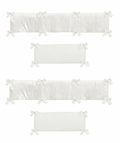 Ivory Velvet Girl Baby Nursery Crib Bumper Pad by Sweet Jojo Designs - Solid Color Off White Cream Crinkle Crushed Luxurious Elegant Boho Shabby Chic Vintage Luxury Princess High End Boutique Glam Designer