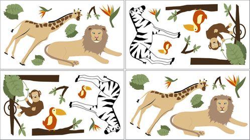 Jungle Adventure Baby and Childrens Animal Wall Decal Stickers - Set of 4 Sheets - Click to enlarge