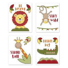 Jungle Safari Animal Wall Art Prints Room Decor for Baby, Nursery, and Kids by Sweet Jojo Designs - Set of 4 - Red, Yellow, Green, and Blue Elephant Giraffe Monkey Lion Time