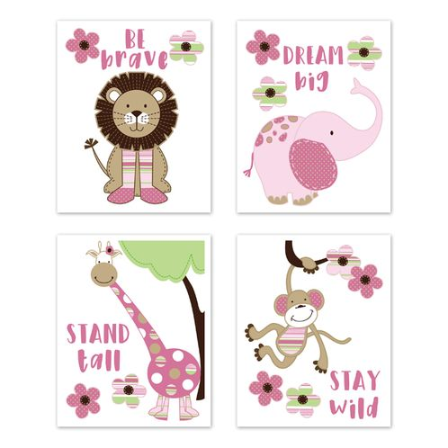 Jungle Safari Animals Wall Art Prints Room Decor for Baby, Nursery, and Kids by Sweet Jojo Designs - Set of 4 - Pink and Green Lion Monkey Giraffe Elephant Friends Flowers - Click to enlarge
