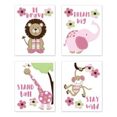 Jungle Safari Animals Wall Art Prints Room Decor for Baby, Nursery, and Kids by Sweet Jojo Designs - Set of 4 - Pink and Green Lion Monkey Giraffe Elephant Friends Flowers