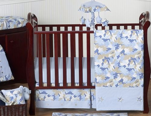 Khaki and Blue Camo Baby Bedding - 11pc Crib Set by Sweet Jojo Designs - Click to enlarge