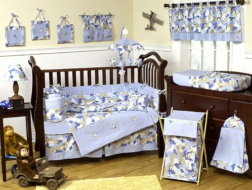 Khaki and Blue Camo Baby Bedding -  9pc Crib Set - Click to enlarge