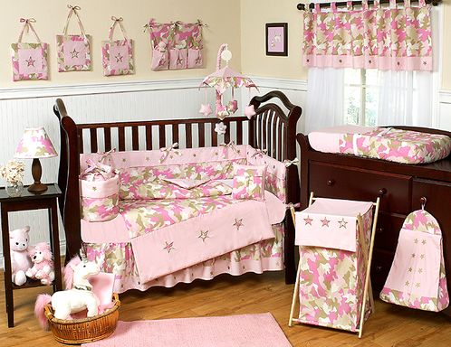 Pink Camo Baby Bedding 9pc Crib Set