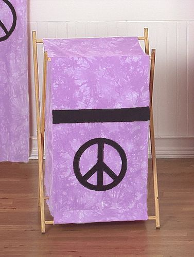Kids Children Clothes Laundry Hamper for Purple Groovy Peace Sign Tie Dye Bedding - Click to enlarge