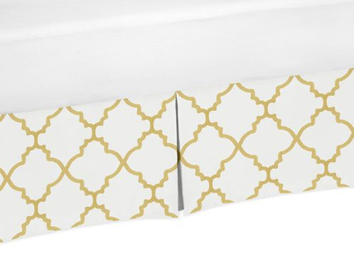King Bed Skirt for White and Gold Trellis Collection Bedding Sets - Click to enlarge