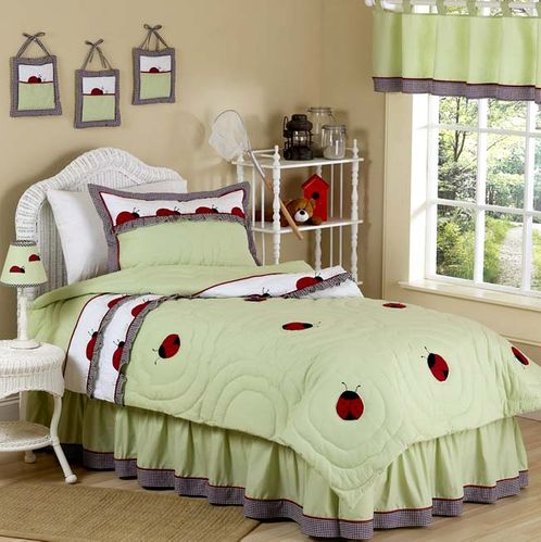 Ladybug Parade Childrens Bedding - 4pc Twin Set - Click to enlarge