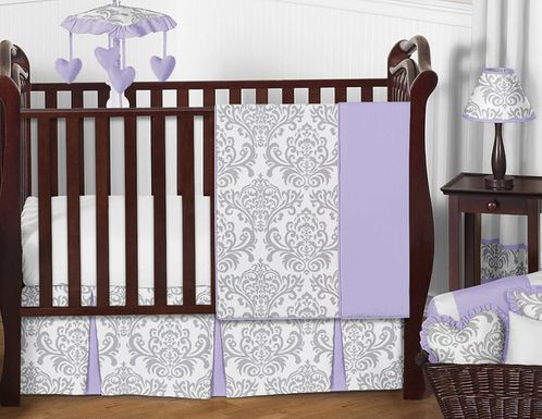 Lavender and Gray Elizabeth Baby Bedding - 11pc Crib Set by Sweet Jojo Designs - Click to enlarge