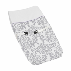 Lavender and Gray Elizabeth Baby Changing Pad Cover by Sweet Jojo Designs