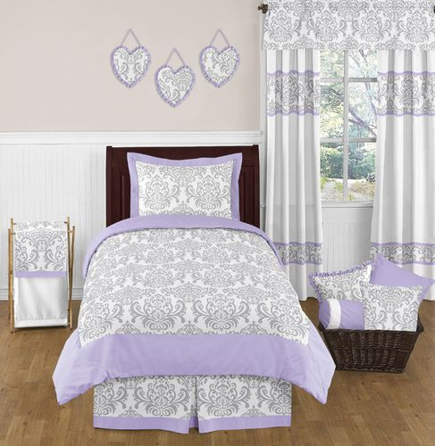 Lavender and Gray Elizabeth Childrens and Kids Bedding - 3pc Full / Queen Set by Sweet Jojo Designs - Click to enlarge