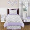 Lavender and Gray Elizabeth Childrens and Kids Bedding - 4pc Twin Set by Sweet Jojo Designs