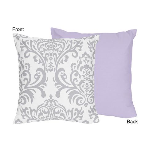 Lavender and Gray Elizabeth Decorative Accent Throw Pillow by Sweet Jojo Designs - Click to enlarge