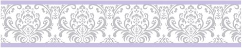 Lavender and Gray Elizabeth Kids and Baby Modern Wall Paper Border by Sweet Jojo Designs - Click to enlarge