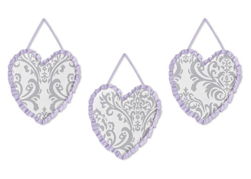 Lavender and Gray Elizabeth Wall Hanging Accessories by Sweet Jojo Designs - Click to enlarge