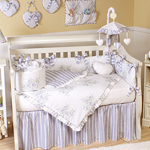 Lavender and Sage Floral Shabby Chic Baby Bedding - 9 pc Crib Set