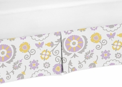 Lavender and White Floral Crib Bed Skirt for Suzanna Baby Bedding Sets by Sweet Jojo Designs