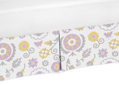 Lavender and White Floral Crib Bed Skirt for SuzannaBaby Bedding Sets by Sweet Jojo Designs