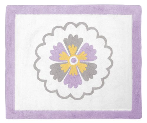 Lavender and White Suzanna Accent Floor Rug by Sweet Jojo Designs - Click to enlarge