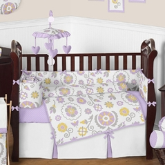 Lavender and White Suzanna Baby Bedding - 9pc Crib Set by Sweet Jojo Designs