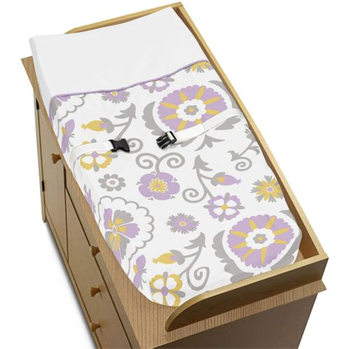 Lavender and White Suzanna Baby Changing Pad Cover by Sweet Jojo Designs - Click to enlarge