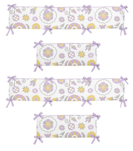 Lavender and White Suzanna Collection Crib Bumper by Sweet Jojo Designs - Click to enlarge