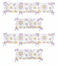Lavender and White Suzanna Collection Crib Bumper by Sweet Jojo Designs