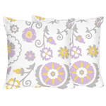 Lavender and White Suzanna Decorative Accent Throw Pillows by Sweet Jojo Designs - Set of 2