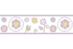Lavender and White Suzanna Kids and Baby Modern Wall Paper Border by Sweet Jojo Designs