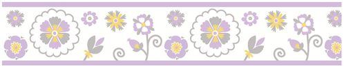 Lavender and White Suzanna Kids and Baby Modern Wall Paper Border by Sweet Jojo Designs - Click to enlarge