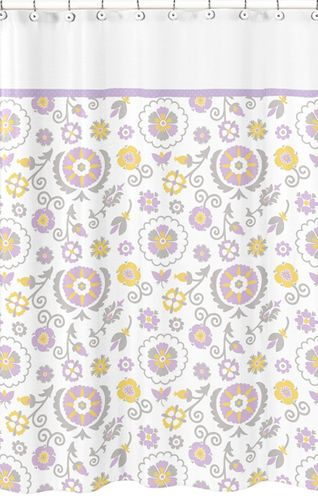 Lavender and White Suzanna Kids Bathroom Fabric Bath Shower Curtain by Sweet Jojo Designs - Click to enlarge