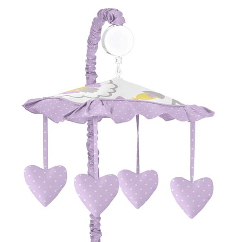 Lavender and White Suzanna Musical Baby Crib Mobile by Sweet Jojo Designs - Click to enlarge