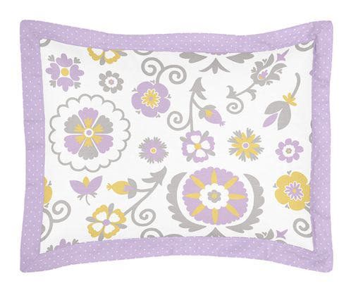 Lavender and White Suzanna Pillow Sham by Sweet Jojo Designs - Click to enlarge