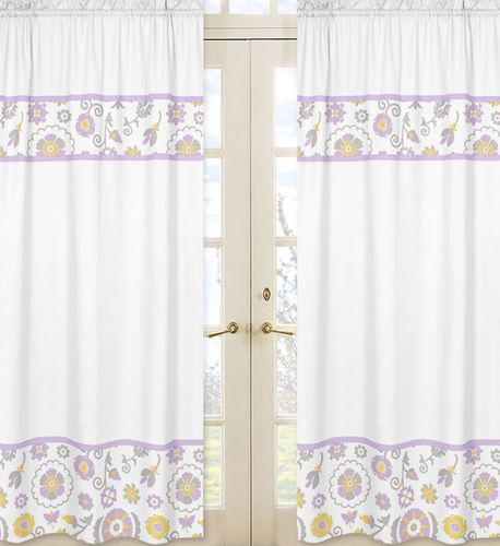 Lavender and White Suzanna Window Treatment Panels by Sweet Jojo Designs - Set of 2 - Click to enlarge