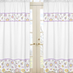 Lavender and White Suzanna Window Treatment Panels by Sweet Jojo Designs - Set of 2