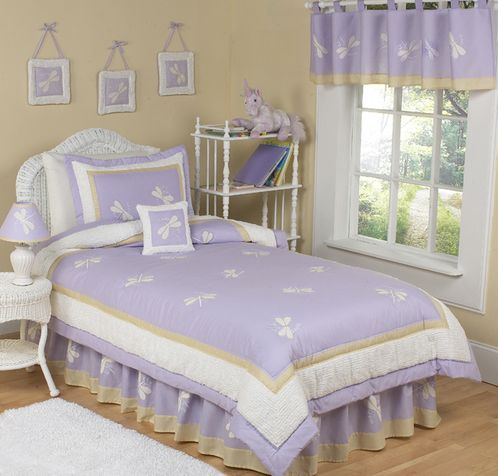 Lavender Dragonfly Dreams Children's Bedding - 4 pc Twin Set - Click to enlarge